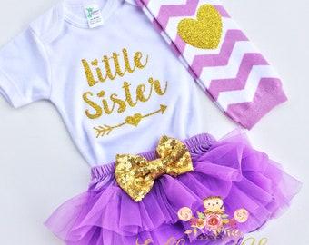 Little Sister lavender outfit baby bodysuit gold sparkle bodysuit