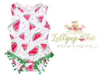 New! Watermelon romper baby romper summer baby clothes one in a melon
