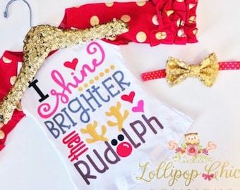 Rudolph Christmas shirt girl I shine brighter than Rudolph tee