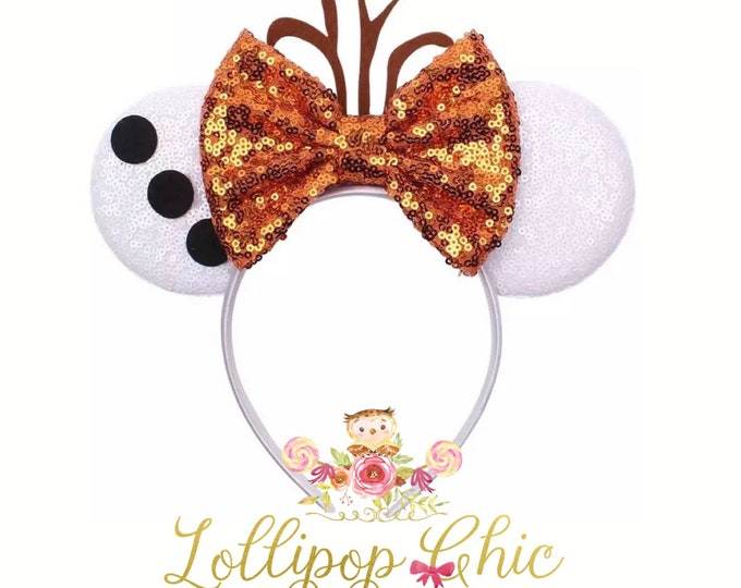 Featured listing image: Olaf Frozen inspired minnie mouse ear headband