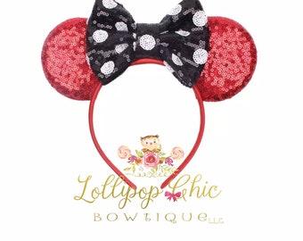 New Minnie Mouse polka dot bow headband inspired minnie mouse ear headband