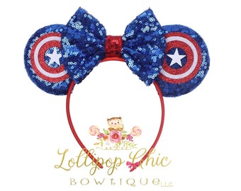 Captain America inspired minnie mouse ear headband