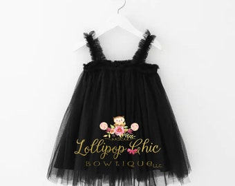 Black tutu mini party dress kids formal dress baby dress