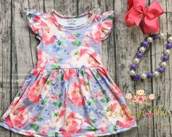 Soft Baby and girls summer Dress milk silk knee length spring floral toddler dress