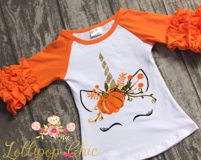 Featured listing image: Fall thanksgiving Halloween Unicorn pumpkin raglan shirt thanksgiving unicorn tee