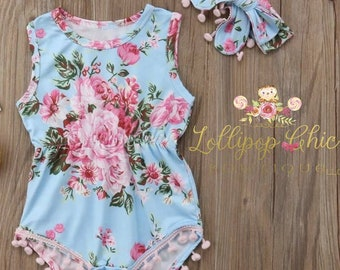 Restocked! Spring Floral summer baby Romper bodysuit with bow headband