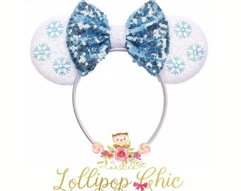 Elsa inspired headband frozen birthday minnie mouse ear disney headband