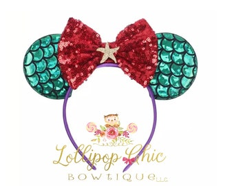 Mermaid Ariel Red bow inspired minnie mouse ear headband