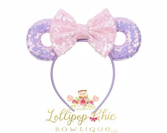 Minnie donut ear headband pink and purple