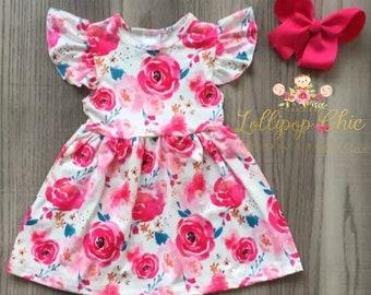 Soft Baby and girls summer Dress milk silk knee length rose print toddler dress