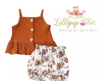 Restocked! Vintage print Girls peplum tee shirt floral short set