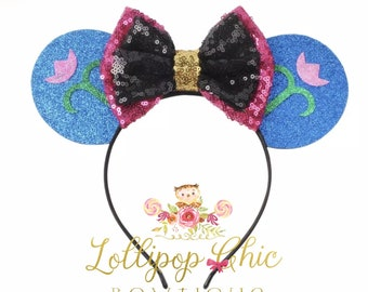 Anna inspired minnie mouse ear headband