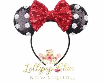 New Minnie Mouse polka dot ear headband inspired minnie mouse ear headband