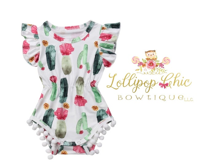 Featured listing image: Restocked! Cactus succulent ruffle romper baby bodysuit summer baby clothes cactus dress cactus baby arizona baby