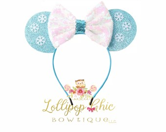 Restocked! Elsa inspired headband frozen birthday minnie mouse ear disney headband