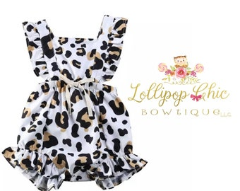 New! Leopard animal print ruffle romper baby romper summer baby clothes cheetah baby romper