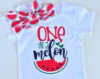 One In A Melon Watermelon bodysuit and knot headband watermelon birthday