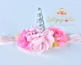 Unicorn Headband MINI siliver horn pinks, baby unicorn headband, baby shower, unicorn birthday, mini unicorn headband, infant unicorn