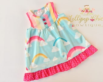 Rainbow Dress for girls soft knee length dress