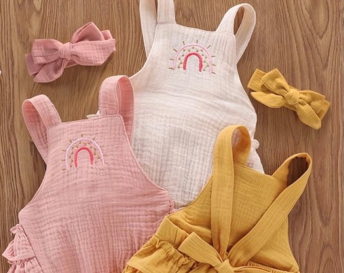 Featured listing image: New! Shabby Chic Rainbow Baby Vintage Romper Ruffle bottom Romper yellow pink dusty rose romper