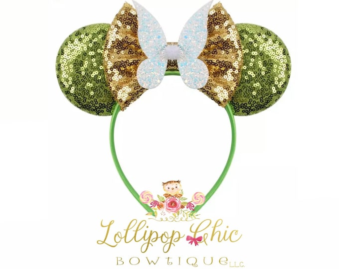 Featured listing image: New! Tinker Bell inspired minnie mouse ear headband