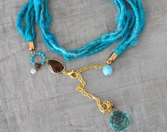 Tribal Silk Wrap Necklace,  Turquoise Blue and Gold,  with Aqua Blue Swarovski Crystal