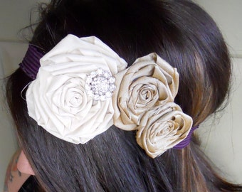 Adult Creme Headband, Cream and Gold With Crystal Button and Purple Elastic - Fabric Rosette Headband Photo Prop - 166