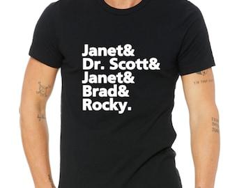 Janet Dr Scott Janet Brad Rocky Unisex Graphic T Life Shirt Lots of Color Options