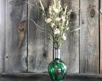 Dried Flower Bouquet in Antique Glass Bottle with Silver Crane Bird Beautiful