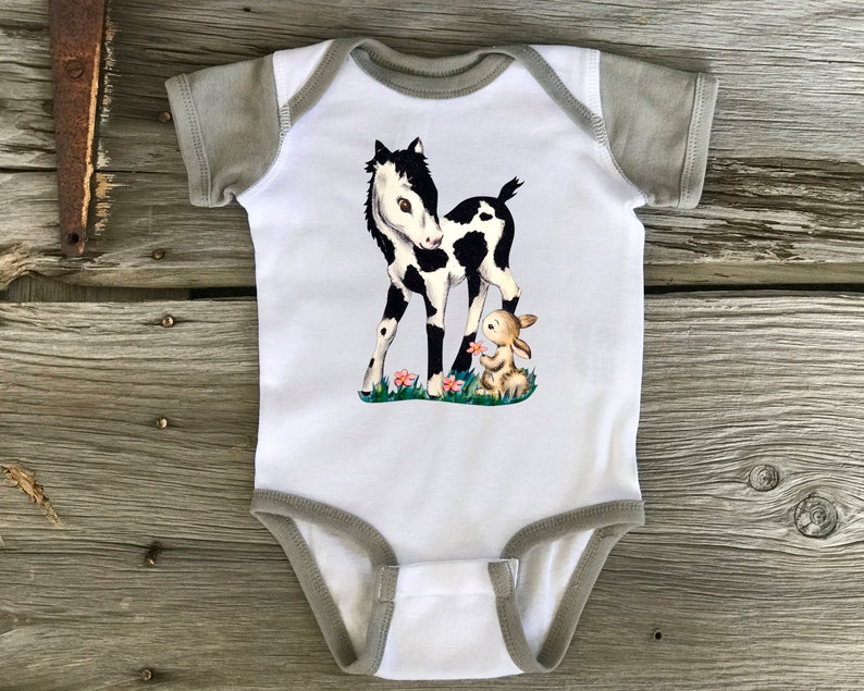 e8c3bfb70869d Infant Baby Bodysuit Onesie Vintage Western Pony FREE SHIPPING Custom  Printed In Our Shop Rabbit Skins Cotton 2-3 Days Personalization