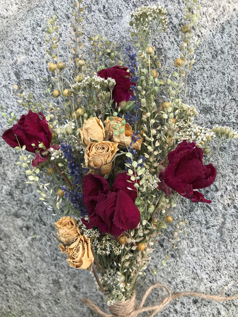 Dried Flower Bouquet Floral Arrangement Freshly Dried Burgundy Peonies White Rose Buds Spray Beautiful Mix Wedding or Home Decor