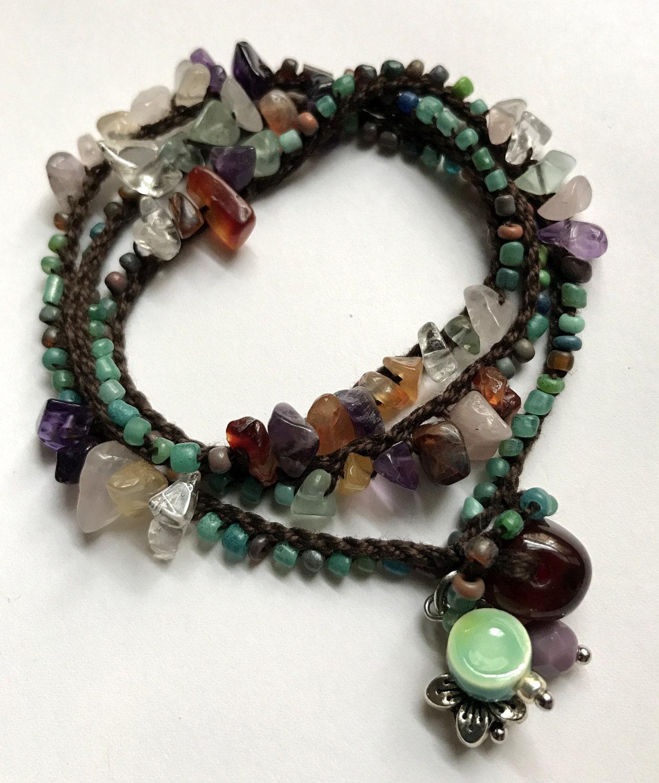 Sea glass crochet wrap bracelet, bohemian jewelry, crochet jewelry ...