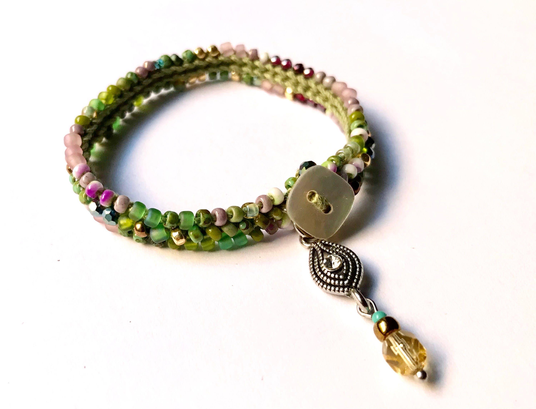 Lotus pink crochet beaded stacking bracelet, bohemian jewelry ...