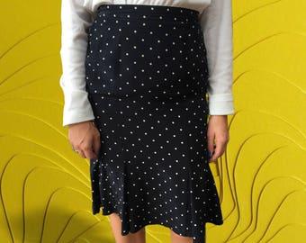 Vintage 1950's Black and White Polka Dot Knee Length Skirt