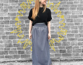 2915d53b7 Vintage 1970's Black & White Plaid Maxi Skirt With Stunning Silver Detail
