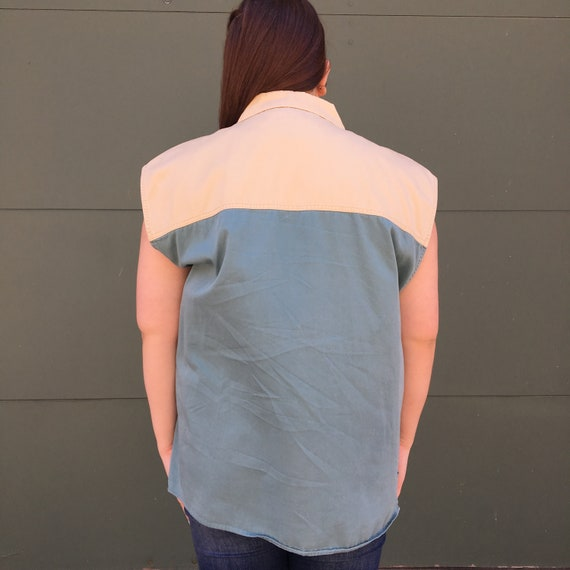 Vintage 1990's Tan and Teal Canvas Patched Sleeve… - image 8