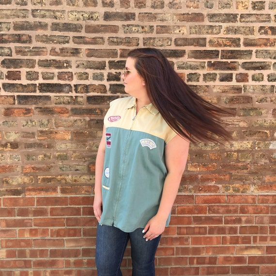Vintage 1990's Tan and Teal Canvas Patched Sleeve… - image 3