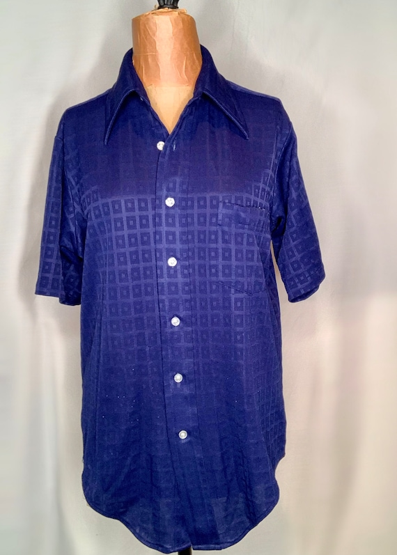 Blue Button Down with Square Pattern