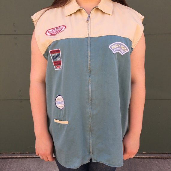 Vintage 1990's Tan and Teal Canvas Patched Sleeve… - image 4