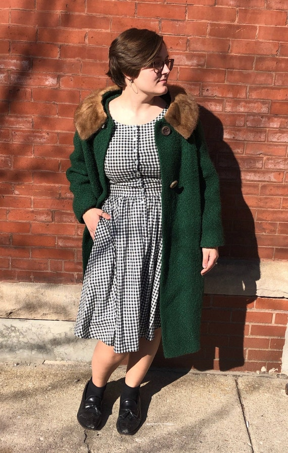 Emerald Green fur collar peacoat