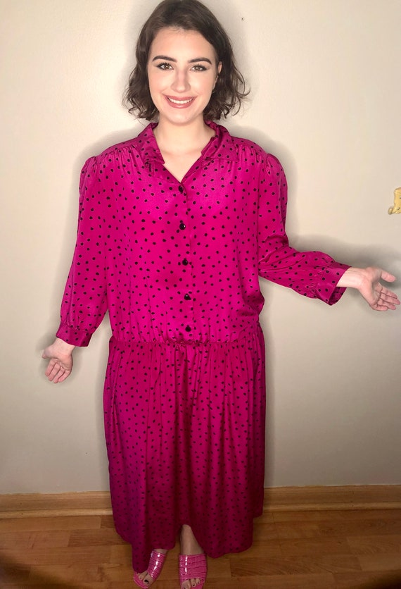 Fuchsia Polka Dot Dress
