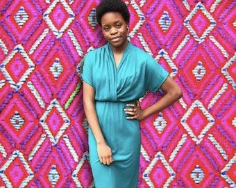 Vintage 1960's Turquoise Mid-Length Deep V-Neck Dress With Elastic Waist
