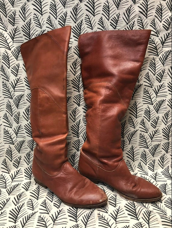 Vintage Brown Leather Over the Knee Boots