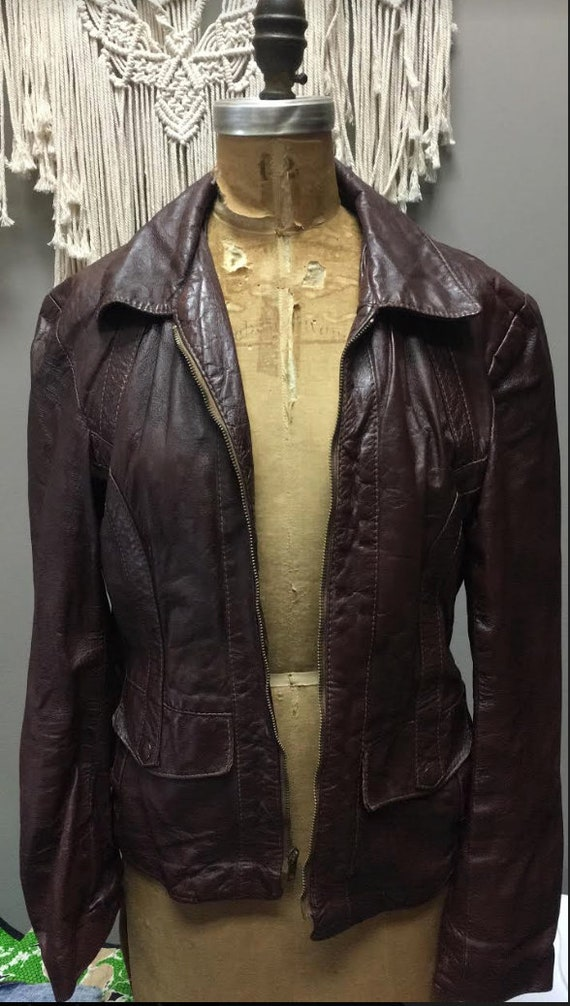 Vintage 1970's Brown Leather Jacket