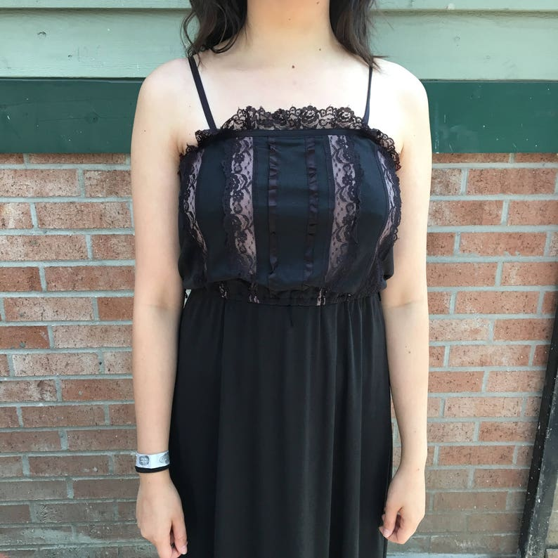 Vintage 1990/'s Lace Maxi Dress With Spaghetti Straps