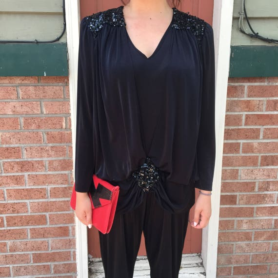Vintage 1980's Black Jumpsuit with Sequins and Sho