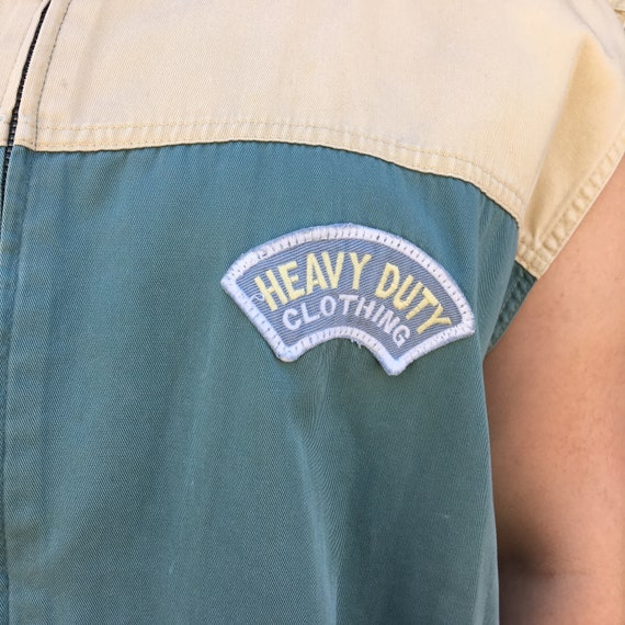 Vintage 1990's Tan and Teal Canvas Patched Sleeve… - image 7