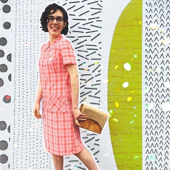 Vintage 1960's Peach Plaid Midi Dress With Half Zi