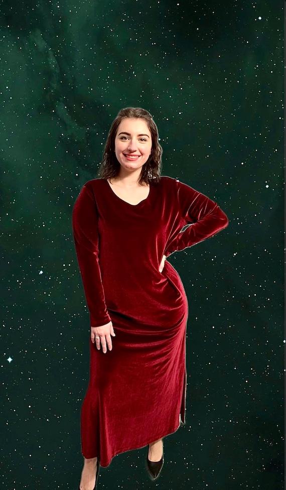 Long Velvet Burgundy Dress