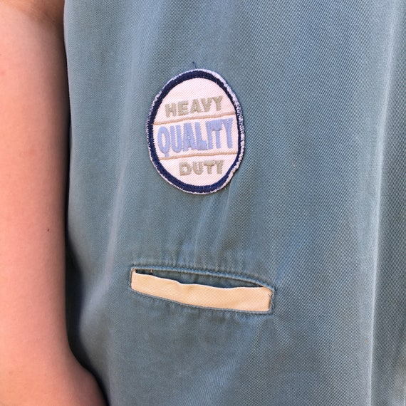 Vintage 1990's Tan and Teal Canvas Patched Sleeve… - image 6